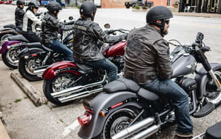 Row of motorcycle riders